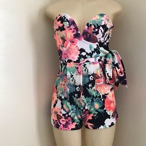 A'gaci pink and green floral romper